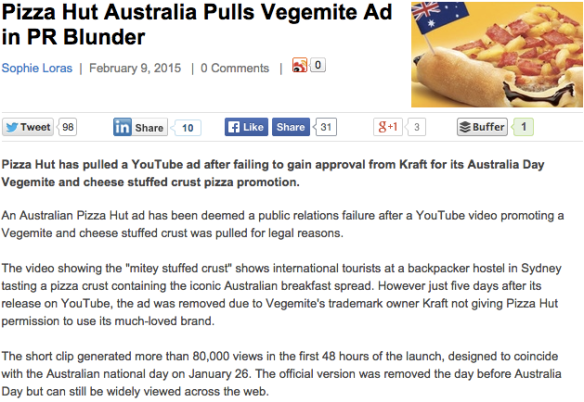 Pizza Hut Australia Vegemite campaign