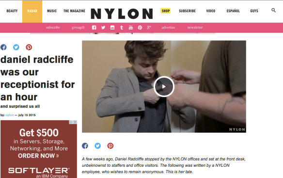 Daniel Radcliffe Nylon receptionist