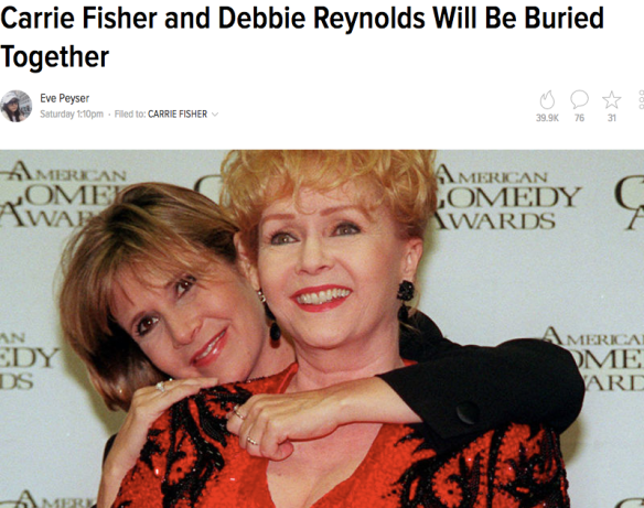 Carrie Fisher Debbie Reynolds deaths