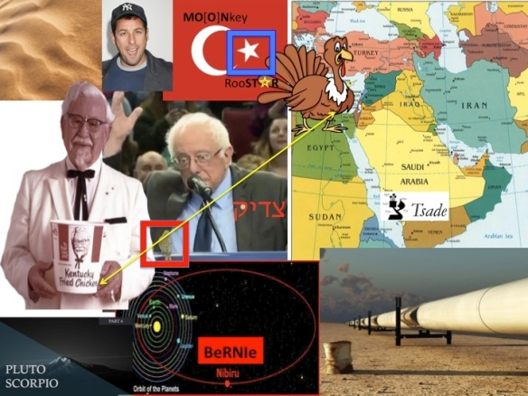 Bernie Sanders Colonel Sanders Adam Sandler Turkey pipelines sand Nibiru Scorpio Pluto Tsade Saudi Arabia