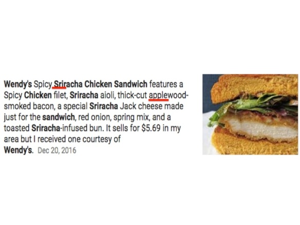 Wendy's Spicy SRIRacha Chicken Sandwich
